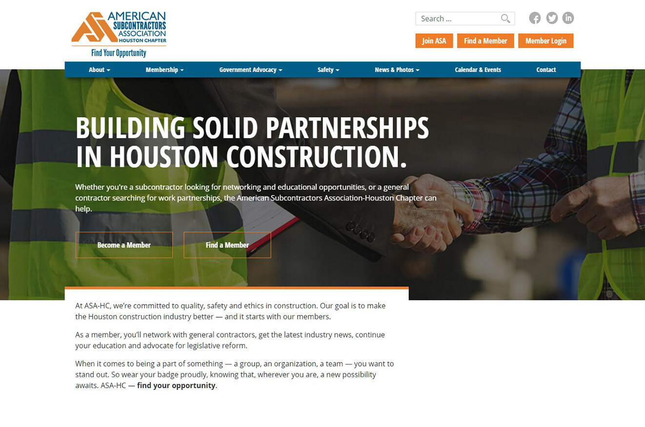 American subcontractors association houston chapter for How to find subcontractors